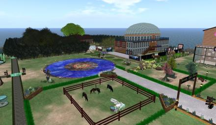 View for Marion Margaret Press's corner, featuring the MMP Library and the Silverwood Elven Enclave Memorial.