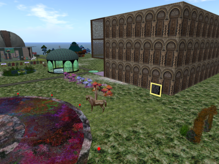 The Myst relaxation area in the next corner hasn't changed much, but Mystic and I need to work on filling this building with product now. Various buildings and home decor, plus whatever strikes our fancy will be there.