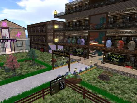 The buildings are more in theme now for these original stores. The one in the corner will be Tempest Myst Designs 2, lots of bean bag chair, rugs and probably more pillows cause 1000 pillows is not enough.